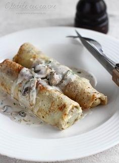 Clătite cu carne tocată și ciuperci, la cuptor   Laura Laurențiu Griddle Cakes, Crepe Cake, Romanian Food, Mille Crepe, Crepes, Waffles, Pancakes, Nutella, Foodies