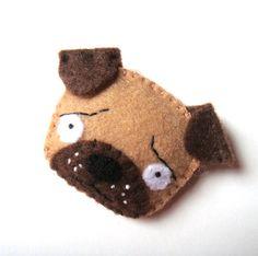 Pug Dog Felt Brooch Pin Funny Fun Fashion Accessory Coffee Brown Fawn Beige Cute Puppy $17.99