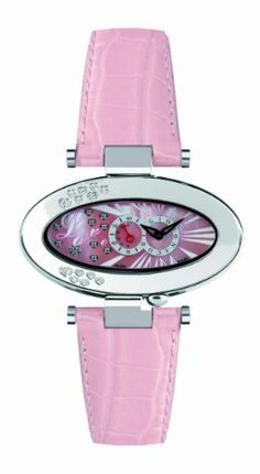 Gio Monaco Women's 450-A Cupido Oval Mother of Pearl Dial Pink Diamond Watch