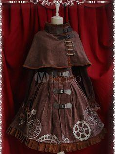 Classic Steam Punk Lolita Jumper Dress Reverse Timer Printed
