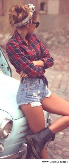 Love it!!! Plaid, jean shorts, hair up...just yes!