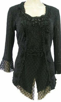Ladies Victorian Blouse In Black at Styles2you.com