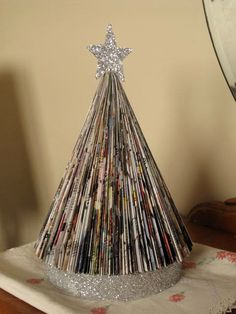 Vintage Style  Upcycled Folded Paper Book Magazine Christmas Tree.