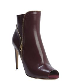 Salvatore Ferragamo burgundy leather zipper detail peep toe heel 'Riona' booties