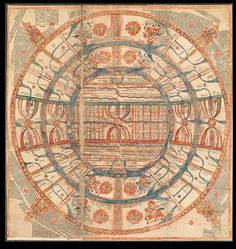 Jain Cosmological Map, 1750, representing the Madhya Loka or middle world of humanity. Jain envisage the universe as consisting of a series of netherworlds increasing regularly in size with distance below the world of man and a series of heavenly realms above.