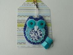 Blue felt owl key ring or bag charm