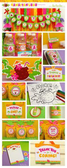 Hawaiian Luau Birthday Party Package Collection Set by LeeLaaLoo, $35.00