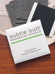 Discreet Odor Neutralizer Pads. Activated charcoal said to deodorize farts. From the Solutions catalog.