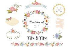 Pretty floral clip art set by The little cloud on Creative Market