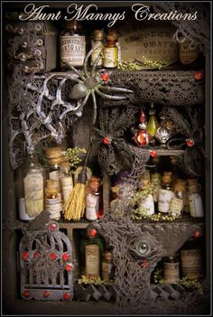 Altered Steampunk Witch Potion / Alchemy Shadow Box.  Over 3 dozen potion bottles!