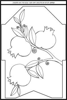 Rosh Hashanah coloring page featuring pomegranates (Hebrew: rimonim)