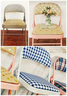 Make those ugly folding chairs party pretty!  Super easy DIY at My Fabuless Life #ChairsDIY