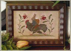Primitive Folk Art Cross Stitch Pattern:   SPRING TIME SOCIAL. $7.00, via Etsy.