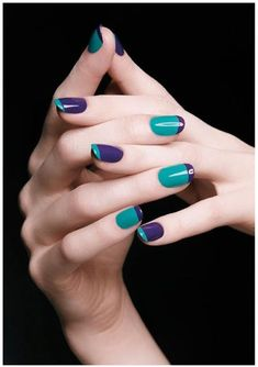 Cool reverse french manicure with colours