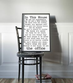 The Office Poster office tv show print In this house office Poster Funny Quotes Office Fan Poster Michael Scott Jim Dwight Dunder Mifflin
