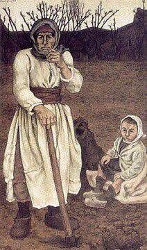 Neşet Günal: Köylü kadın ve çocuğu, (1978). Tuval uzerine yagliboya. 163×94 cm. Ozel koleksiyon