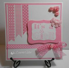 It's a Girl card. The stripes are made of washi tape. Blank inside so you can write your own personal message. One of a kind and handmade by ME!