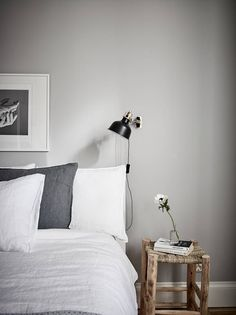 Home tour | A grey Gothenburg apartment styled for spring | These Four Walls Cozy Small Bedrooms, Small Bedroom Designs, Scandinavian Interior Bedroom, Scandinavian Home, White Apartment, Apartment Walls, Light Grey Walls, Grey Home Decor, Beautiful Bedrooms