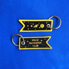 For the galactic explorer or starry eyed wanderer in your life. A double sided embroidered keychain. Starry Eyed, Wander, Club, Personalized Items, Space, Etsy, Patches, Shop, Products