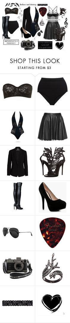 """Rockstar Photoshoot"" by tymartz1424 ❤ liked on Polyvore featuring Balmain, Tezenis, Alice + Olivia, Vince Camuto, Giuseppe Zanotti, STELLA McCARTNEY, Boohoo, Ray-Ban, Lord & Taylor and Akira"