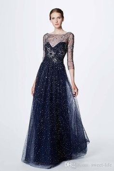 5457ca58a5 Gorgeous 2018 Long Evening Dresses Marchesa Notte Resort Beads Crystal  Party Prom Dress Long Sleeve Celebrity
