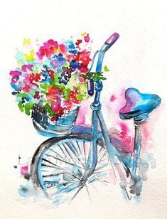 Original Watercolor Summer in Paris Illustration, Bicycle Art, Painti…