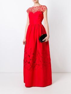 Oscar de la Renta tulle chest panel dress