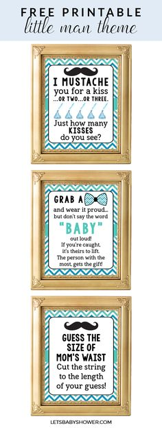 Free Printable Baby Shower Games: a great Baby Shower Idea for Boys, Little Man Theme. Click to download.