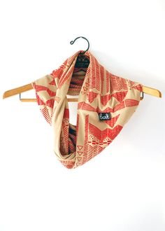 Going Hunting - Red and Camel - modern  jersey hand printed circle scarf - by Bark Decor