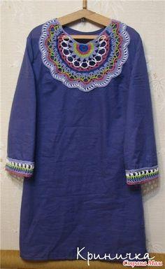 Crochet Fabric, Crochet Tunic, Crochet Mandala, Crochet Crafts, Free Crochet, Crochet Style, Lace Collar, Peasant Blouse, Linen Dresses