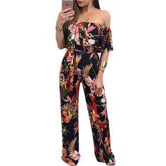 015af620cc Off Shoulder Floral Print Jumpsuit