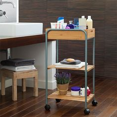 417199 Bamboo Bathroom Organiser Trolley Bigbuy Home for sale Bathroom Organisation, Bathroom Storage, Organization, Bathroom Light Pulls, Bathtub Shelf, Oh My Home, Bamboo Bathroom, Standing Shelves, Plexiglass