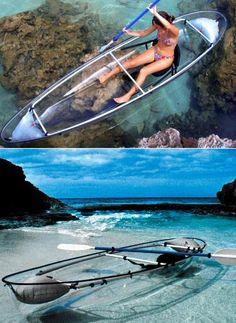 Uma canoa transparente eu nunca vi. Isso me parece bem interessante.