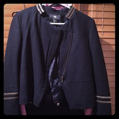 H&M jacket. H&m jacket. Size 8. Dark blue with gold details. Very cute and stylist. Great condition H&M Jackets & Coats