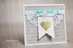 Hochzeitskarte, Stampin' Up!, Stempelset Wimpeleien Framelits Banner, Prägefolder Schönschrift, Savanne #stampinup #schnipseldesign