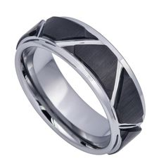 Two-tone Brushed Black IP Plated Trapezoids & High Polished Outlines 8mm | Shop this product here: http://spreesy.com/elmanjewelry/19 | Shop all of our products at http://spreesy.com/elmanjewelry    | Pinterest selling powered by Spreesy.com