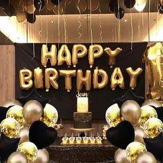50th Birthday Balloons, Birthday Party Decorations For Adults, Gold Birthday Party, Birthday Celebration, 40th Birthday Ideas For Men Party, Man Birthday, Birthday Wishes, Birthday Goals, Birthday Dinners