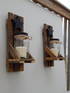 Mason Jar Candle Holder Wall Sconce With Shelf and Star. Set