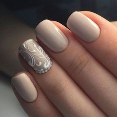 These nails will be good choice for employed woman who loves elegance and wears clothes of different colors. Beige is easy to combine.