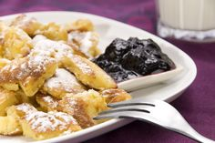 Southern German/Austrian Pancakes, Kaiserschmarrn ~ We omit the raisins and top with warm honey ~ YUM! This is a group/ family dessert in Bavaria, not served for an individual or as a meal.