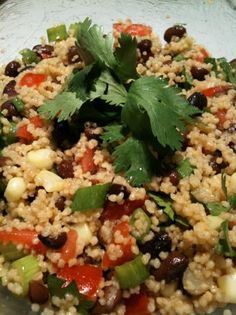 Black Bean and Couscous Salad: another favorite salad of mine. Substitute vegetable broth for the chicken broth and it's vegan-friendly.