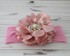 Light Pink Pearl Flower Headband Baby Flower by BySophiaBaby