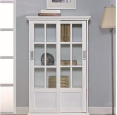 Altra Furniture High Gloss White Bookcase with Sliding Glass Doors - 9448096 - Altra Furniture Bookcase With Glass Doors, Sliding Glass Door, Glass Shelves, Sliding Doors, Entry Doors, Barn Doors, Glass Cabinets, Bathroom Cabinets, Cupboards