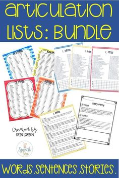 Must-have SLP resource!! Use these resources in all of your articulation sessions. Word lists, sentence lists, and stories are included in this money saving bundle. All sounds in all positions are included and color coded for easy use!