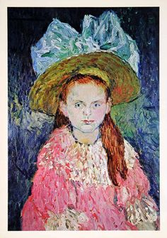 "The aptly named ""Young Girl Wearing a Large Hat"" was painted by Pablo Picasso in 1901 when the artist was just 19 years old. Pablo Picasso, Kunst Picasso, Art Picasso, Picasso Paintings, Oil Paintings, Indian Paintings, Abstract Paintings, Painting Art, Landscape Paintings"