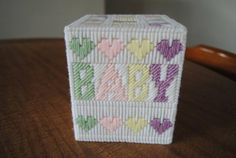 Your place to buy and sell all things handmade Green And Purple, Pink Yellow, Plastic Canvas Tissue Boxes, Tissue Box Covers, Covered Boxes, Markers, Decorative Boxes, Arts And Crafts, Baby Boy