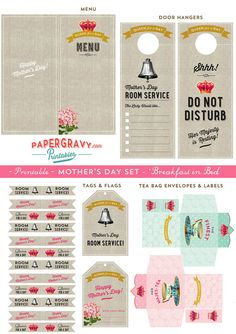 Digital Printable Mothers Day BREAKFAST in Bed