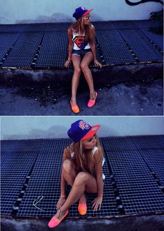 nba hat, superman tank, ankle tat, and customized Toms? this girl has it figured out Nba Snapbacks, Nba Hats, Summer Outfits, Cute Outfits, Fasion, Fashion Outfits, Black Girl Fashion, Cool Hats, Spring Summer Fashion
