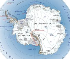South Pole Traverse : McMurdo – South Pole Ice Highway, a red line indicating the traverse.