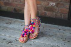 Bohemian Pom Pom SandalsGladiator Sandals '' by SandalsofLove